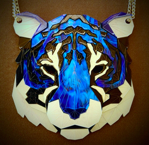 Tiger Head Necklace (Deep Blue) by Sstutter