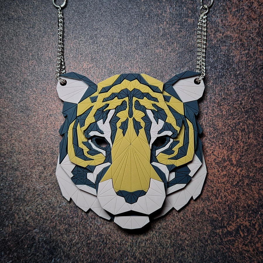 Tiger Head Necklace (Fabric) by Sstutter