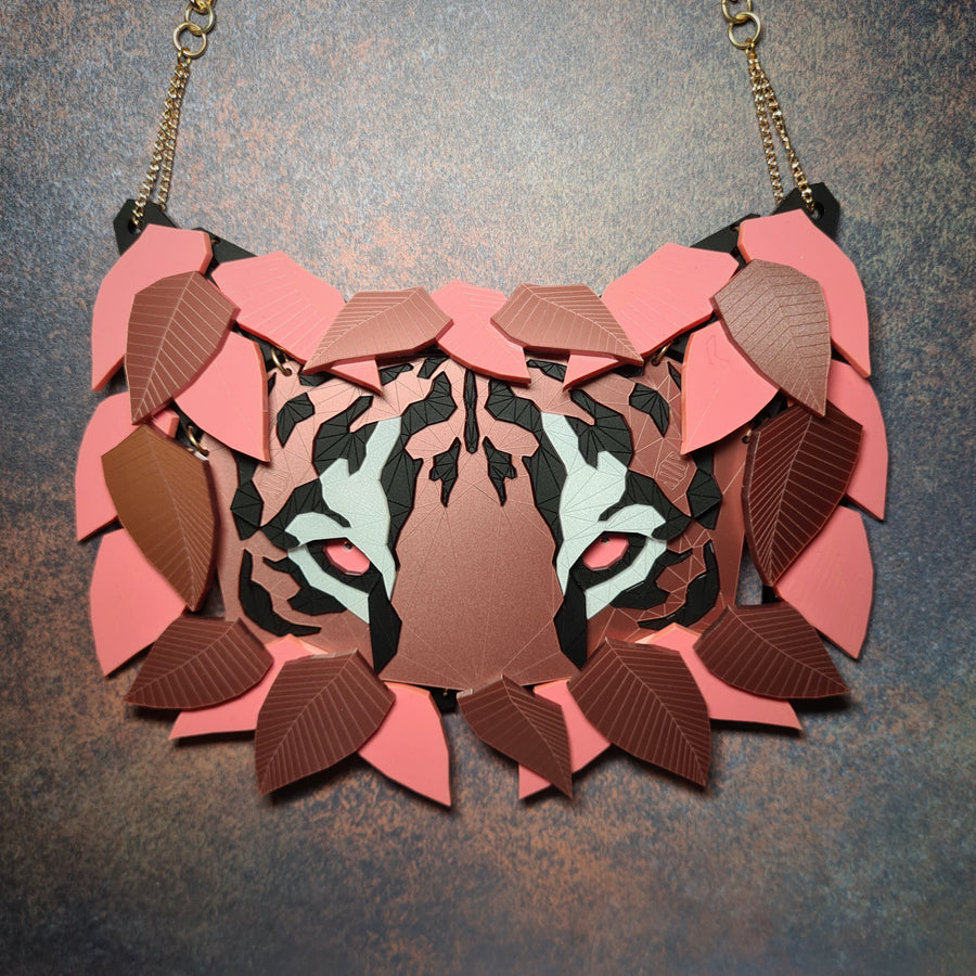 Tiger Necklace (Coral Rose ) by Sstutter