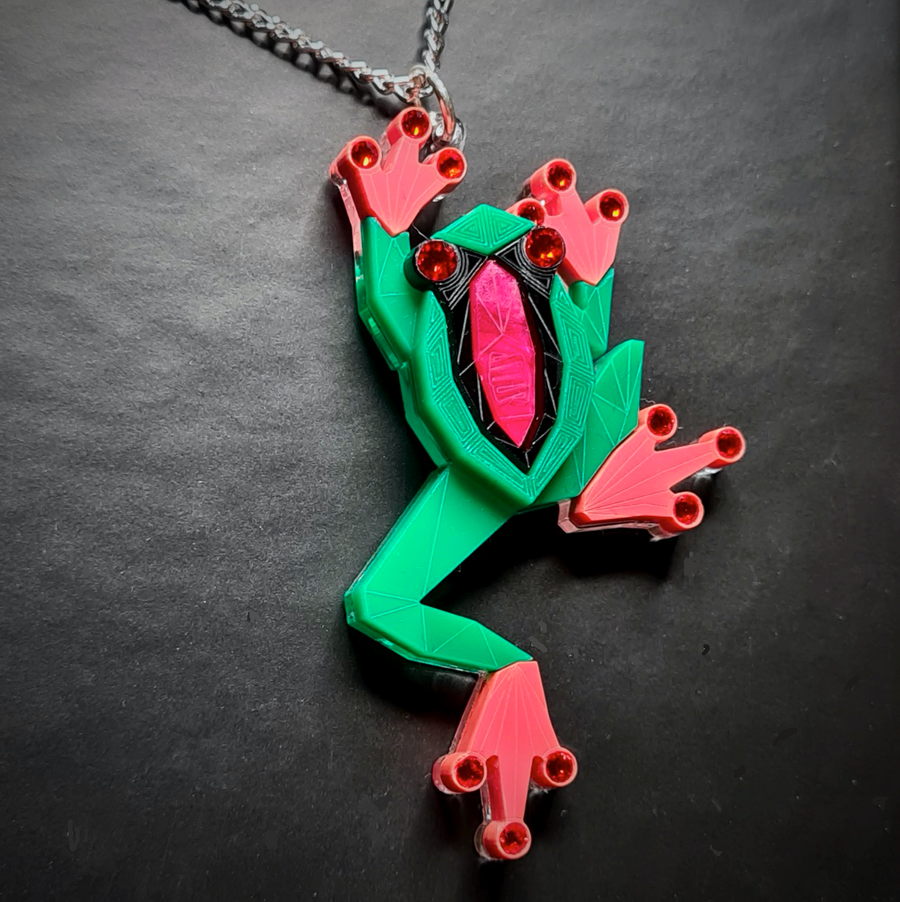 Tree Frog Necklace (Watermelon) by Sstutter