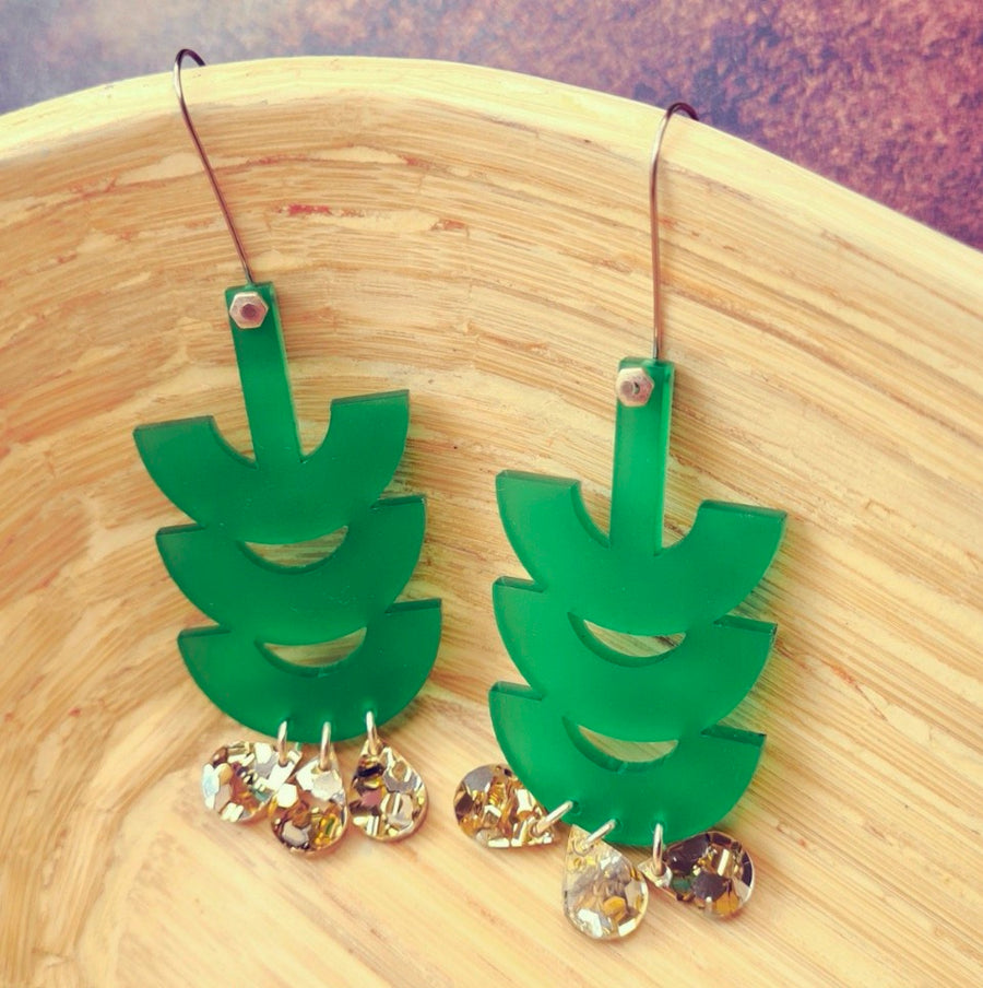 Tribal Frosted Green Earrings by Little Red Head
