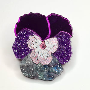 Textured Pansy Brooch (Purple/Pink) by Esoteric London