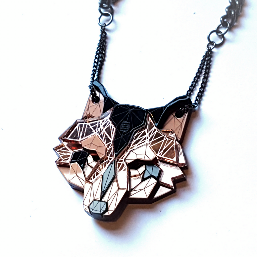 Wolf Head Necklace (Rose Lux) by Sstutter