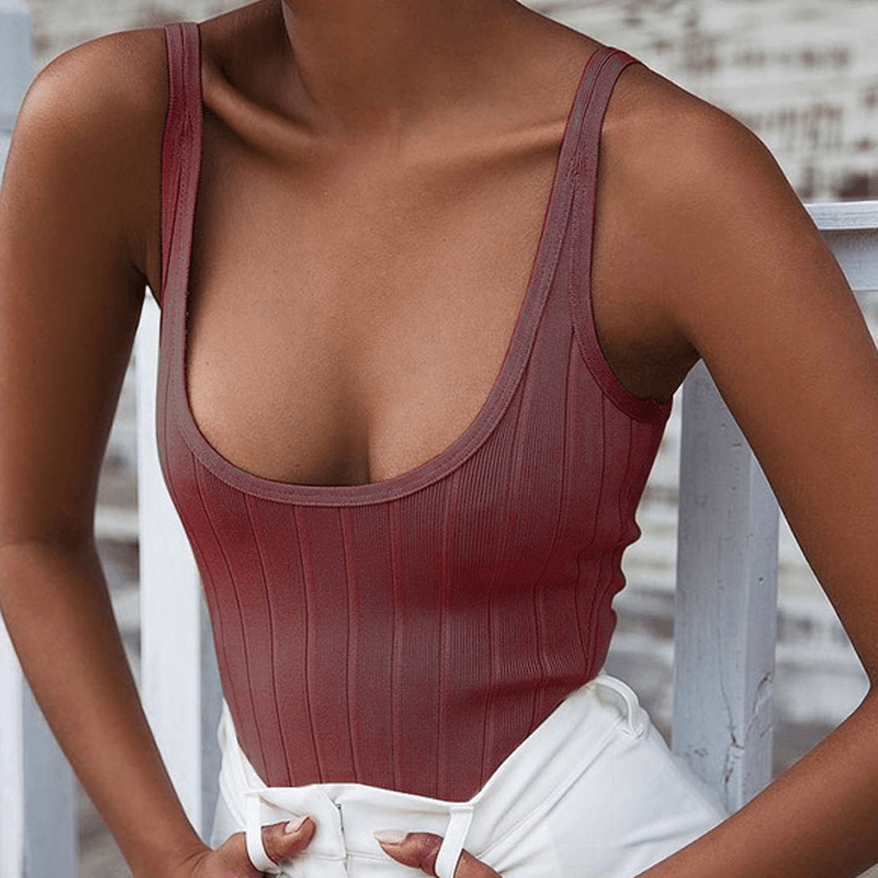 Ribbed Knitted Bodysuit - LUX NOIRE