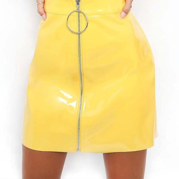 Bottoms - Vinyl High Waist Skirt