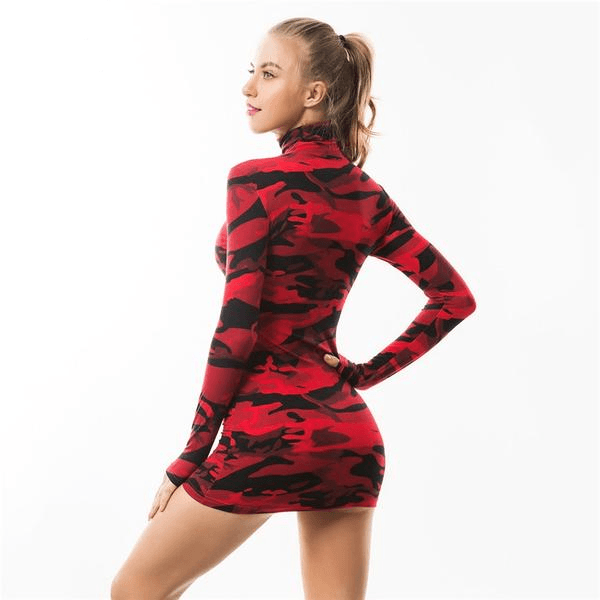 Red Camo Evening Dress - LUX NOIRE