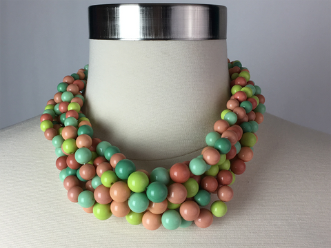 Autumn Pastels Twisted Bubble Choker Necklace with Matching Earrings