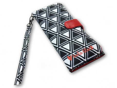 Black and White Nested Triangles Printed Women's Wallet