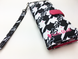 Black and White Catstooth Printed Women's Wallet