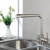 Deluxe Kitchen Faucet - Tri-Flow Water Tap Mixer - Brushed Stainless Steel - FreePurity.com