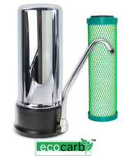 Eco-Carb Chrome-Plated Countertop Filter Unit With Replaceable Cartridge - FreePurity.com