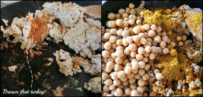 Skillet Ground Turkey Curry with Garbanzo Beans and Dates