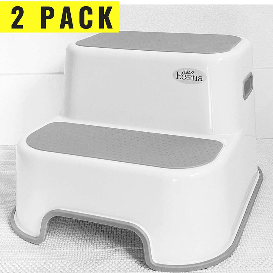 Wider Dual Height 2 Step Stool for Kids | Slip Resistant Soft Grip Toddler's Stool for Potty Training and Use in The Bathroom or Kitchen | BPA Free for Comfort and Safety
