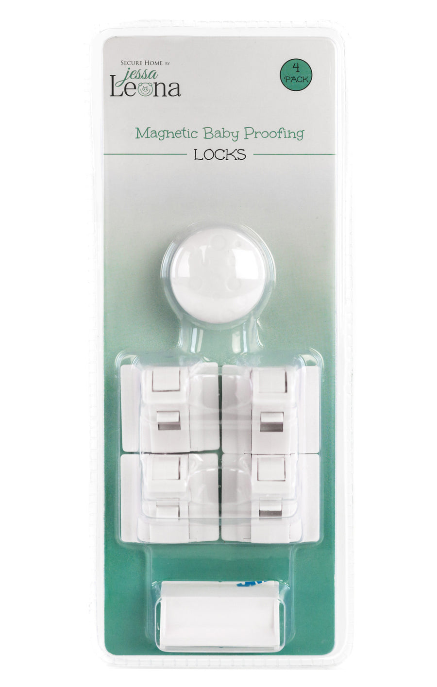 Baby Safety Magnetic Cabinet Locks - 4 Lock & 1 Key Set White - Jessa Leona Baby