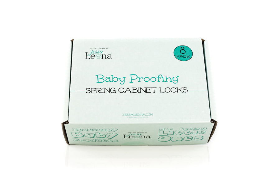 Spring Action Baby Proofing Cabinet Locks (8-Pack) - Jessa Leona Baby