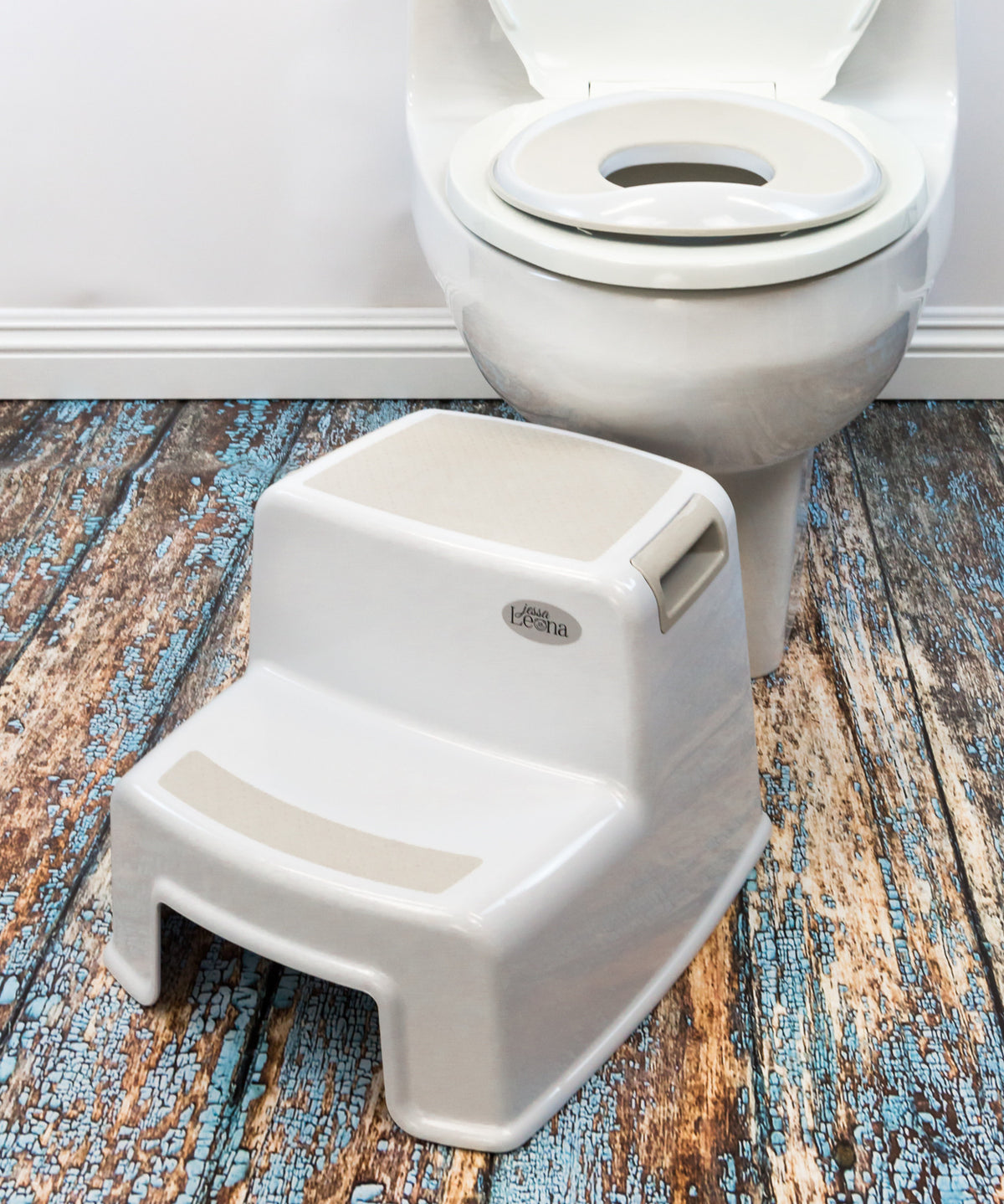 toddler dual height step stool greige