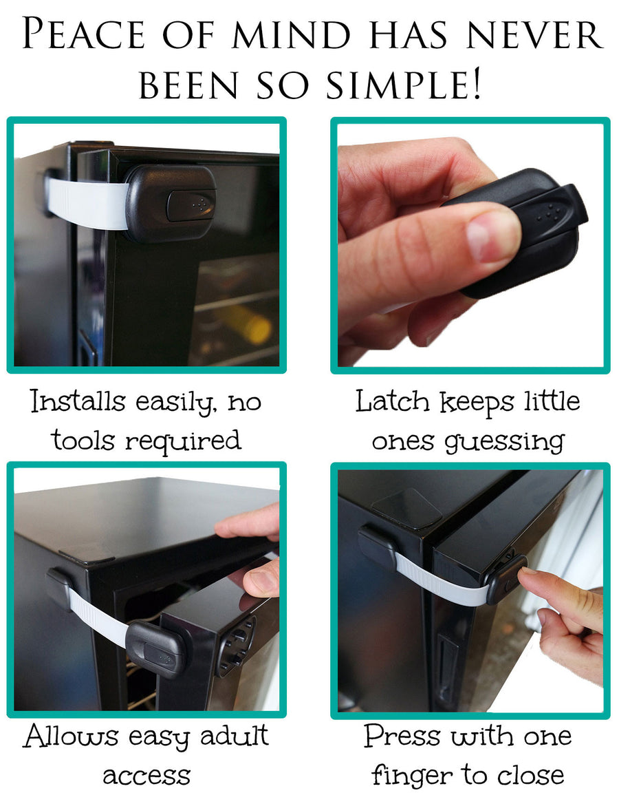 Baby Safety Strap Locks | For Cabinets, Drawers, Appliances, Toilet Seat, Fridge and Oven - Jessa Leona Baby