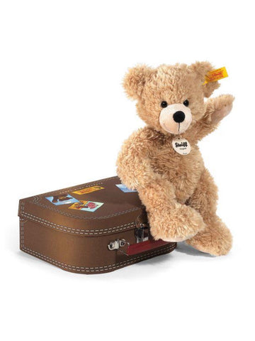 Fynn Beige 28cm Steiff Plush Kids Teddy Bear in Brown Suitcase