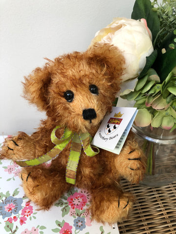 Freddie Fully Jointed Gold Curly Mohair Handmade Collectable Teddy Bear