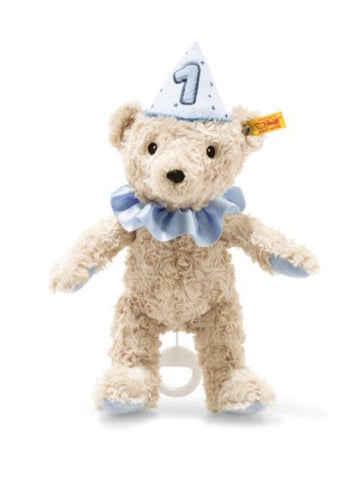 First Birthday 26cm Blue Steiff Plush Musical Teddy Bear