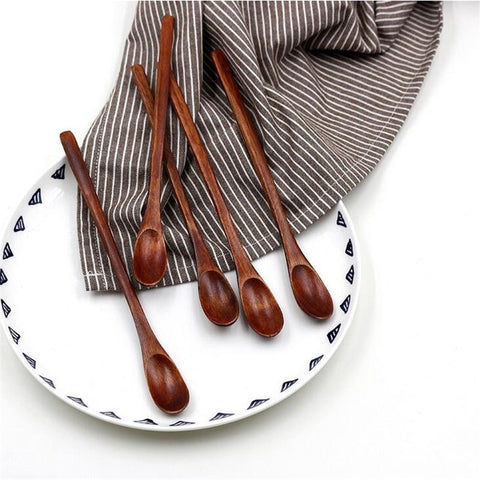 5pcs/bag Waterproof craft color pure Long Flat Wooden Handle Coffee Spoon Stirring dessert spoons - Seasons Chic