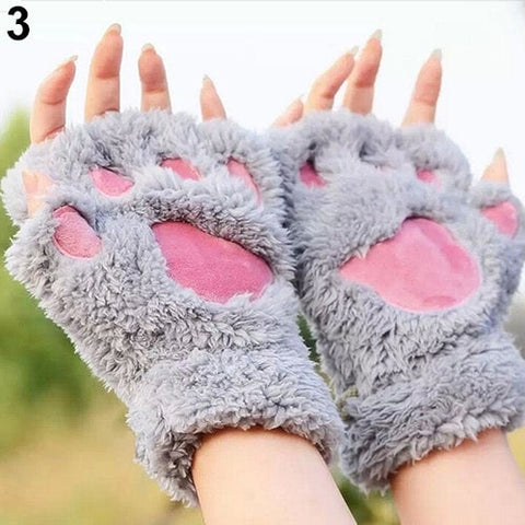 2016 Fashion Women's Bear Paw Fluffy Plush Glove Winter Half Covered Soft Toweling Mittens 5 Colors 6UBK 7ETJ 88GE - Seasons Chic