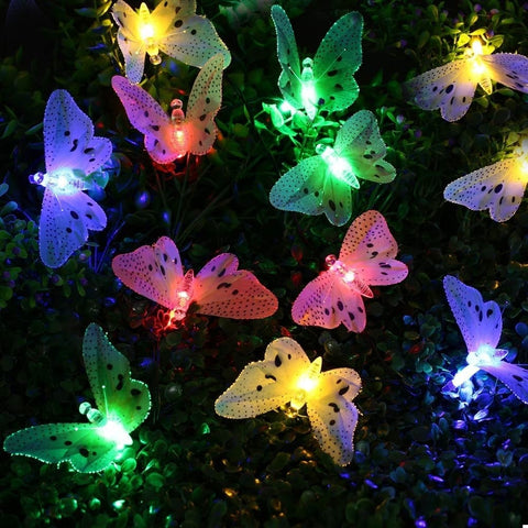 12 LED Multi Color Butterfly Solar String Lights Decorative Outdoor Lighting - Seasons Chic