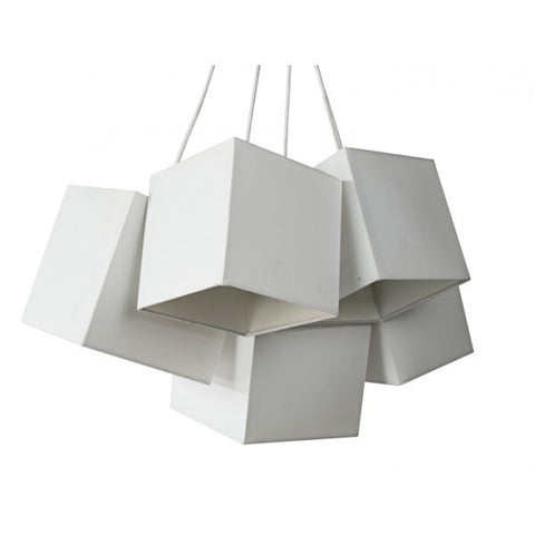 Loria White White Square Cluster Pendant Lights
