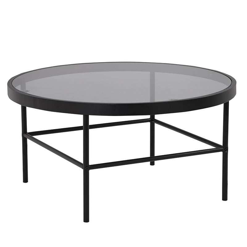 CASHEL Round Coffee Table 80cm - Smoke & Black