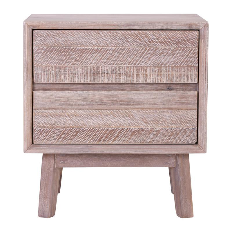 MADRID Bedside Table with 2 Drawers - Acacia Solid Wood - Navarrah Ash
