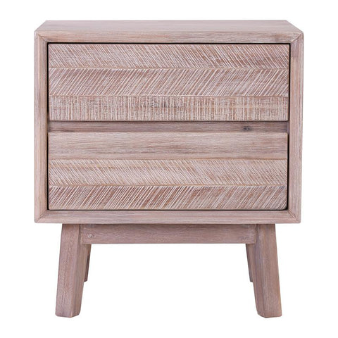MADRID Bedside Table with 2 Drawers - Acacia Solid Wood - Uneven Distress Colour