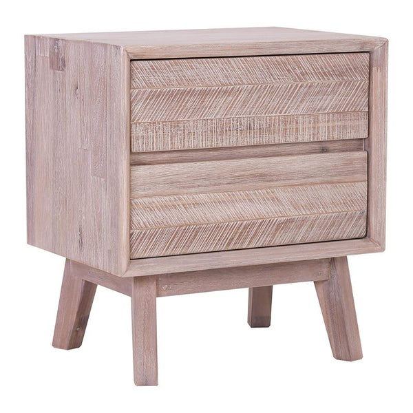 KERRON Bedside Table with 2 Drawers - Acacia Solid Wood - Navarrah Ash