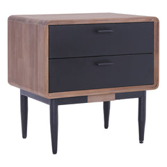 BINDER Bedside Table with 2 Drawers Acacia Wood - Taupe Black