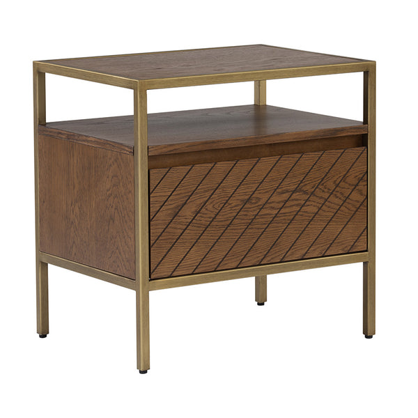 WILLINGHAM Bedside Table - Brass & Wood