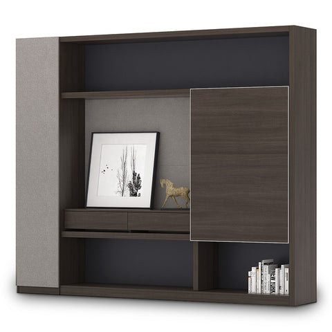 Carter Display Cabinet - 240 x 200cm - Coffee + Charcoal