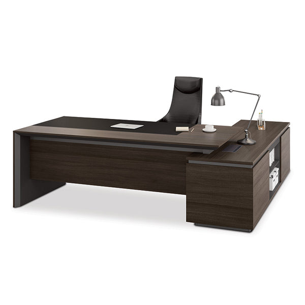 Carter Executive Office Desk with Left Return 2.2M - Coffee & Charcoal