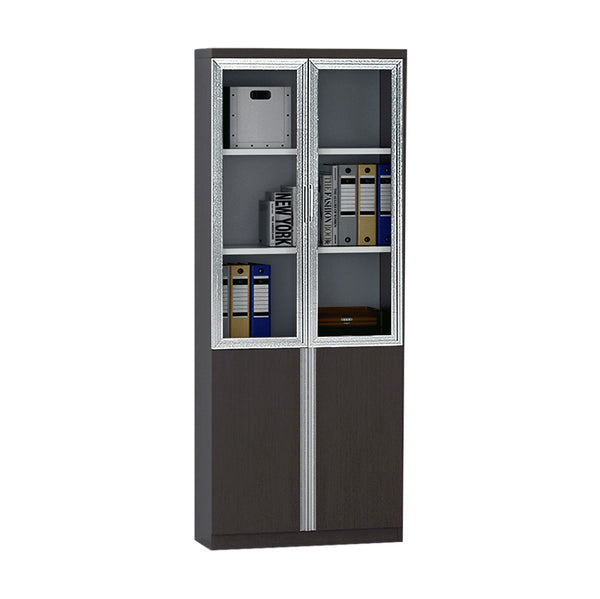 XANDER 2 Door Display Cabinet 80cm - Black Oak