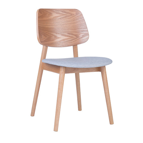 MERCY Dining Chair Wooden Backrest - Natural/Light Grey