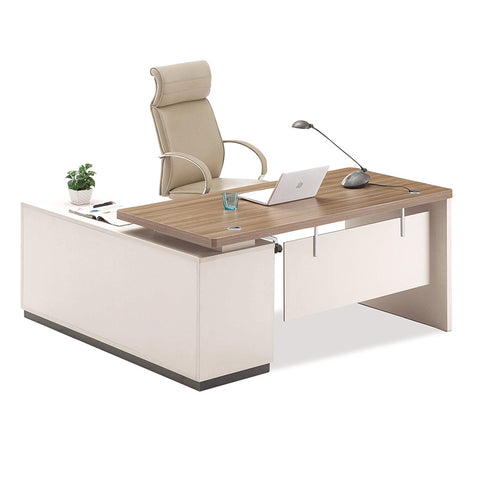 Wilder Executive Office Desk + Leftt Return - 180cm - Walnut + White