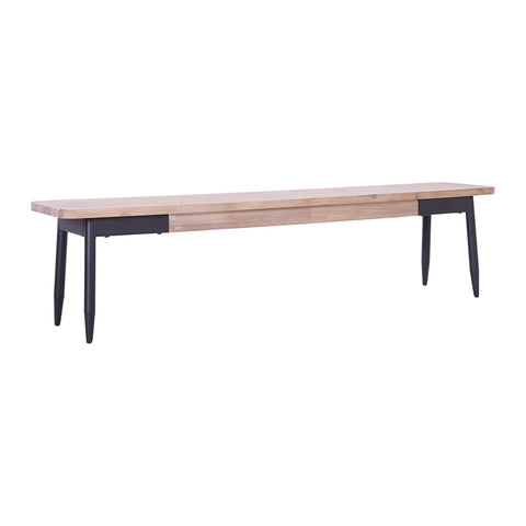 BINDER Bench 150cm Acacia Solid Wood - Black & Taupe
