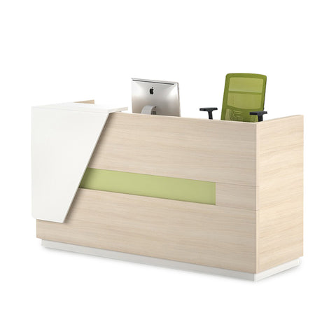 CLARK Reception Desk  1.8M Right Panel - Light Oak  & White