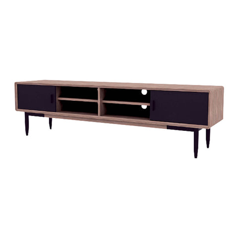 BINDER TV Entertainment Unit 200cm Acacia Solid Wood - Black & Taupe