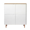 SIENNA Tall Sideboard 110cm -  Natural & White