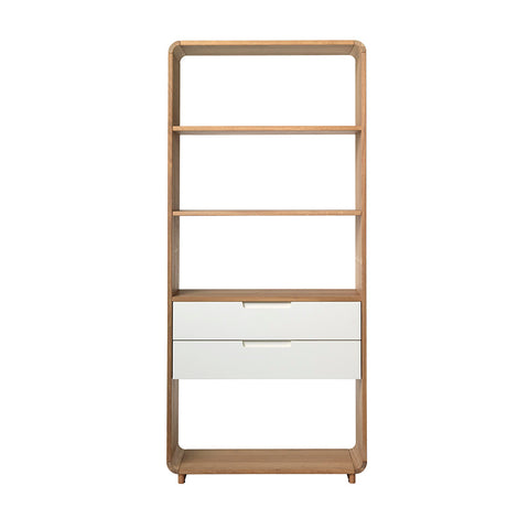 SIENNA Display Unit Bookcase 82cm -  Natural & White