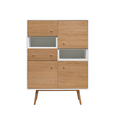 KAISU Tall Sideboard 100cm -  Natural & White