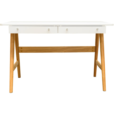 KAISU Study Desk 120cm -  White & Natural
