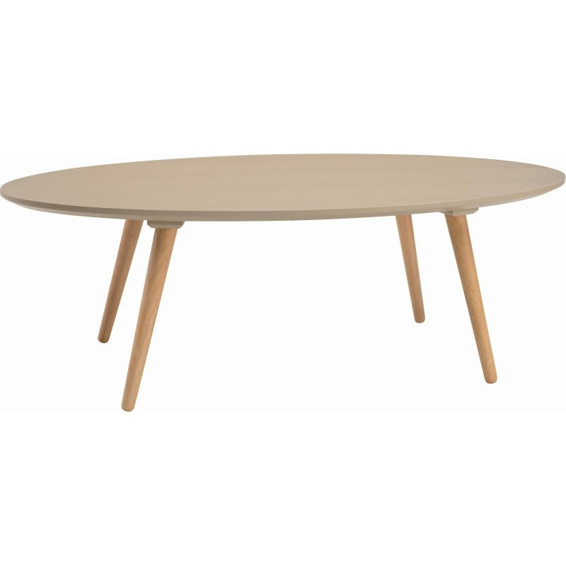Carsyn Oval Coffee Table In Taupe Grey