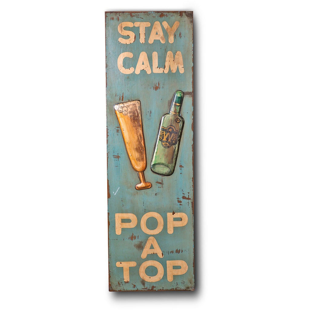 "Wooden Print ""Stay Calm Pop A Top"" In Antique Blue"