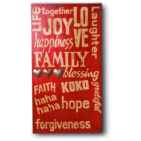 Red Joy Happiness Family Wooden Wall Hanging In Antique Red