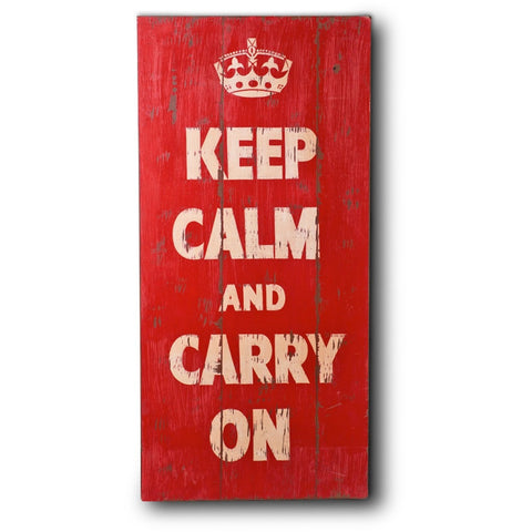 Wooden Print In Antique Red - Keep Calm